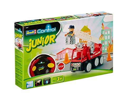 Revell Control Junior RC Car Feuerwehr - ferngesteuertes Feuerwehr Auto mit 40 MHz Fernsteuerung, kindgerechte Gestaltung, ab 3, mit Teilen und Figur zum Bauen und Spielen, LED-Blinklichtern - 23001