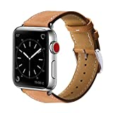 Finetop Compatible with Apple Watch Band 38mm 40mm 42mm 44mm, Premium Genuine Leather