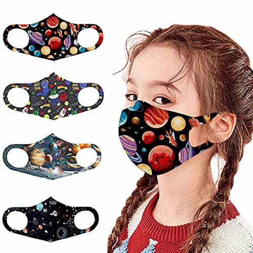 YBSHIN Face Mask for Kids Washable and Reusable Face Masks for Children Adjustable Ear Loops for Girl Boy Gift (4PACK/6PACK) (B-pack 4)