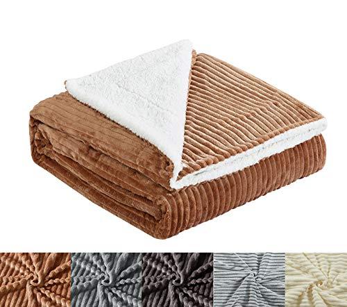 Manta para sofá y Cama con Borrego (S-3106) 500GMS Sin Pelusas No Suelta Pelo Tacto Suave y Cálida Dispone Varios Tamaños y Colores (Camel, 130 * 150cm)