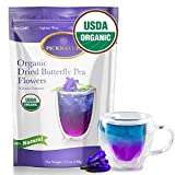 BIG PACK Organic Butterfly Pea Flower Tea 3.5Oz, Ideal for 500 cups or more, Premium Dried Flowers for Drinks and Food Coloring, Purple, violet, Clitoria Ternatea, Vegan Herbal Teas, Best Homemade Kombucha Tea Scoby by PICKNATURE