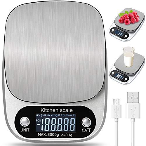 Báscula Smart Digital para Cocina con Carga USB,5kg/11lbs-0.1g Balanza Electrónica de Alta Alimentos Precisión con LCD Retroiluminación, Peso de Cocina de Multifuncional, Plata
