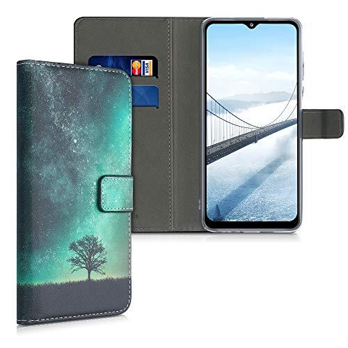 kwmobile Carcasa Compatible con Samsung Galaxy A12 - Funda de Cuero sintético con árbol y Estrellas - Case con Tarjetero