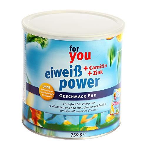 for you Power Eiweiß nach Strunz I Eiweißpulver Pur 750g I Fitness Eiweisspulver mit Carnitin Whey-Protein Sojaprotein Milchprotein I Biologische Wertigkeit 156 I Mehrkomponenten Protein Pulver