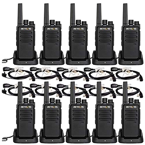 Retevis RT68 Two-Way Radios Long Range, Walkie Talkies Adults, with Earpiece,VOX Handfree Set, 2 Way Radio Rechargeable, Business Restaurant(10 Pack)