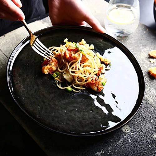 NO BRAND Inicio vajilla Vintage vajilla de cerámica Bowl-Alta Temperatura de cocción Compartimento Libre de Plomo for el hogar Cocina Desayuno Western Steak Plate (Color : # Plate (450g))