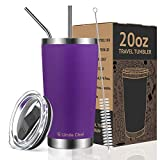 Umite Chef 20oz Tumbler Double Wall Stainless Steel Vacuum Insulated Travel Mug with Lid, Insulated Coffee Cup, 2 Straws, for Home, Outdoor, Office, School, Ice Drink, Hot Beverage (20 oz, Purple)