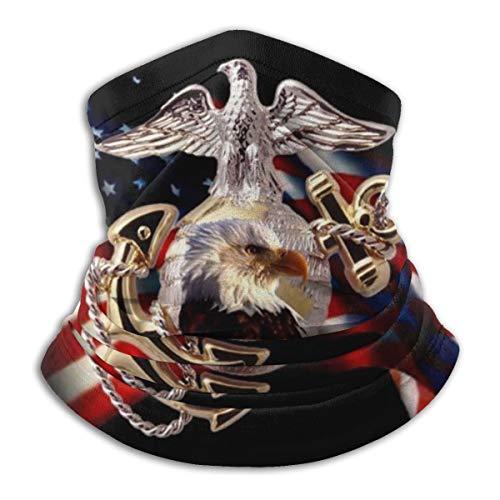 antkondnm Us Marine Corps Rectangle Face Bandana Neck Gaiter, Sun Uv Dust Protection Reusable Half Mask Scarf Motorcycle Balaclava for Men Women