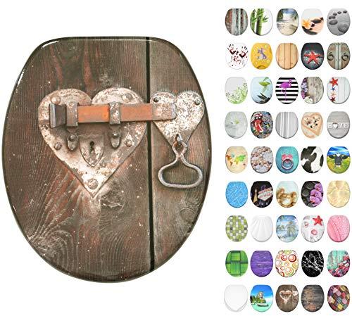 WC Sitz mit Absenkautomatik, große Auswahl, schöne Motive, hochwertige und stabile Qualität aus Holz (Türschloss)