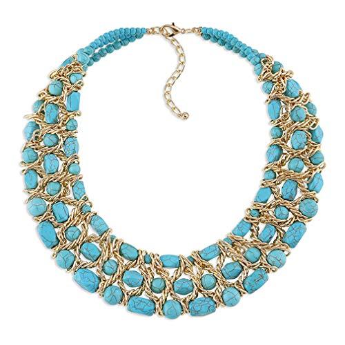 YAZILIND Mujeres Collar Turquesa Dorado clavícula joyería Retro étnico Babero Grueso Personalizado joyería