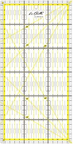 La Canilla ® - Patchwork Lineal 30x15 cm Nählineal - Universallineal zum Nähen und Basteln mit exakten Abmessungen CM, MM und Winkel-Maßen Acryl Transparent