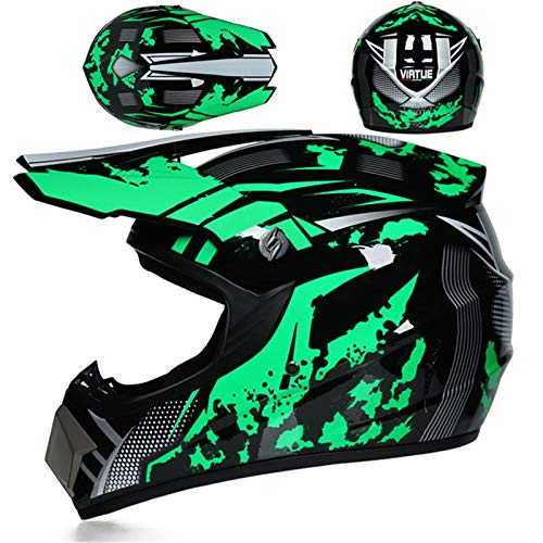 LDJ Casco de moto de motocross, para niños, Full Face Off-Road Motocicleta Casco con gafas, guantes/máscara, motocross, ATV MTB Outdoor Sport Motorcycle Set (verde, XL)