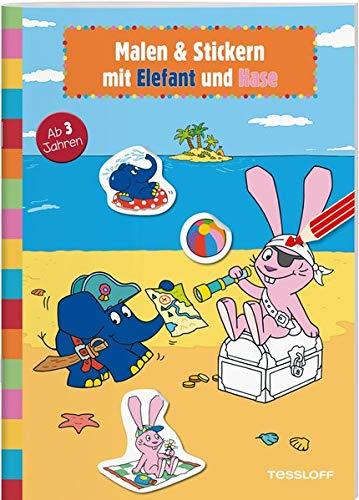 Malen & Stickern mit Elefant und Hase: Elefantastischer Malspaß für Kindergartenkinder (Rätsel, Spaß, Spiele)