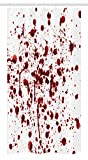 """Ambesonne Horror Stall Shower Curtain, Splashes of Blood Grunge Style Bloodstain Horror Scary Zombie Halloween Themed Print, Fabric Bathroom Decor Set with Hooks, 36"""" X 72"""", Red White"""