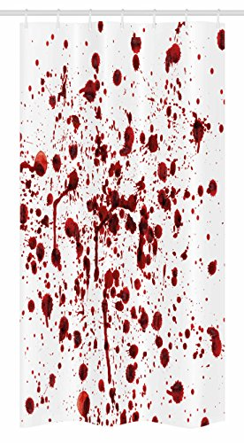 Ambesonne Horror Stall Shower Curtain, Splashes of Blood Grunge Style Bloodstain Horror Scary Zombie Halloween Themed…