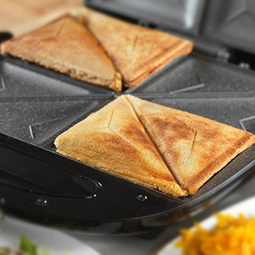 Tower T27010 4-Slice Sandwich Maker with Easy Clean Non-Stick Cerastone Coated Plates, Non-Slip Feet and Cool Touch Handle, 1000 W, Stainless Steel/ Black