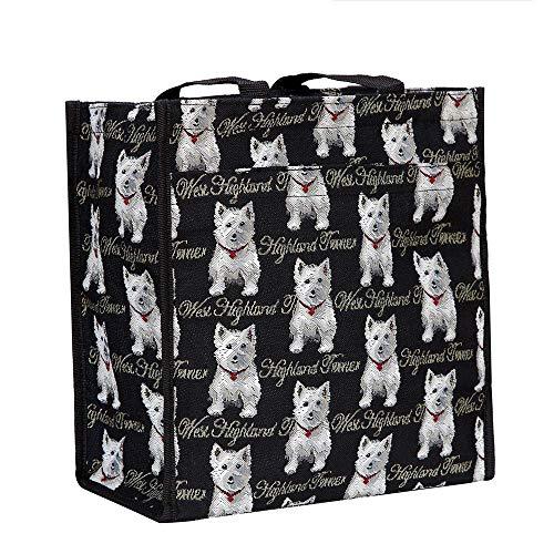 Signare Bolso tapiz Shopper de moda mujer bolso de hombro Animal (Westie)