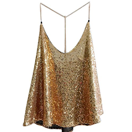 LINNUO Camisetas Sin Mangas Lentejuela Mujer Clubwear Brillante Tank Top Casual Camiseta Shimmer Blusas