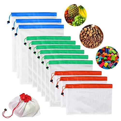 12pcs multifonction réutilisable en maille Sac de Produire des 3tailles Eco Friendly Cordon de serrage provisions Sac de rangement pour fruits Légumes Jouets