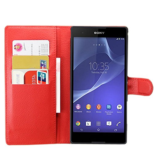 Ycloud Tasche für Sony Xperia T2 Ultra (6 Zoll) Hülle, PU Ledertasche Flip Cover Wallet Case Handyhülle mit Stand Function Credit Card Slots Bookstyle Purse Design rote