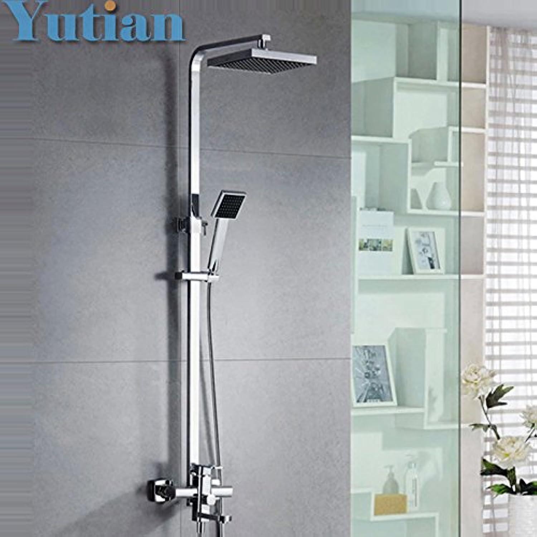 Luxurious shower Kostenloser Versand Poliert verchromt 8  Regendusche Set Badewanne Armatur Mischbatterie Dusche Spalte YT-5306, Wei