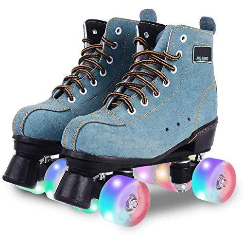 MISTLI Classic Suede Rollerskates Artistic Quad Rolling Shoes, Discorollador Retro Adulto, Zapato De 4 Ruedas con Luz LED para Adultos Y Adolescentes De Mujer,37EU