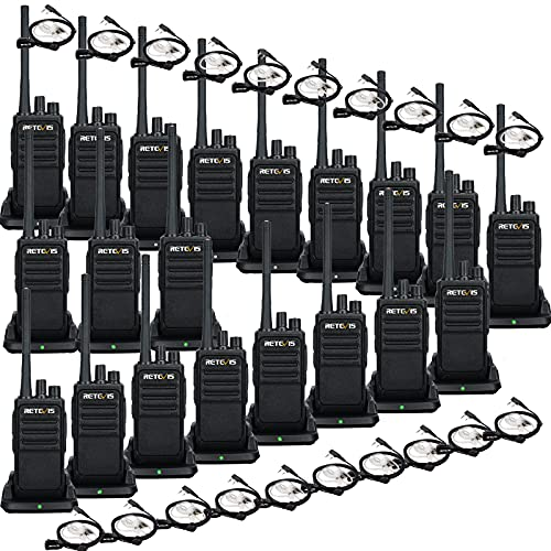 Retevis RT17 Walkie Talkies with Earpiece and Mic,Handheld 2 Way Radio Rechargeable,Portable Two Way Radios Long Range,VOX Handsfree for Adults School Business Construction Warehouse(20 Pack)