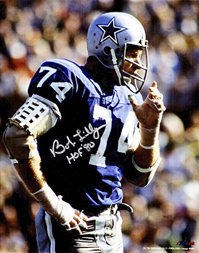 Bob Lilly Signed Dallas Cowboys Navy Jersey 8x10 Photo w/HOF'80