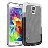 TILL for Galaxy S5 Case, TILL(TM) Ultra Slim 3 Color Hybrid Impact Anti-Slip Shockproof Soft TPU Hard PC Bumper Extra Front Raised Lip Case Cover for Samsung Galaxy S5 I9600 GS5 G900V [Light Gray]