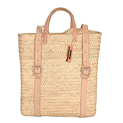 Palm Leaf Backpack, Straw Bag Made, Shopping and Picnic Baskets, Traditional Moroccan Bag, Leather Made Bags, Handcrafted Bag, Beach Bag. (Beige)