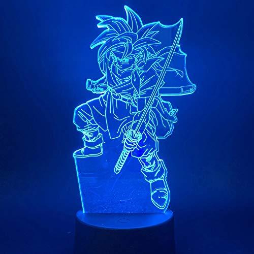 Dragon Ball Creative Anime Samurai Night Light Goku Multicolor Acrílico Lámpara de mesa pequeña Luz LED Anime Fan Regalo para la decoración de la habitación