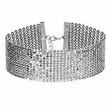 Tpocean Gargantilla de metal multicapa de plata brillante retro punk único collar de boda, fiesta, graduación, gargantilla para mujeres y niñas