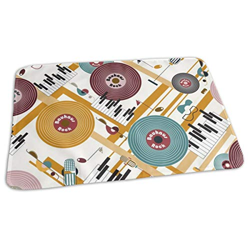 Bauhaus Rock in mosterd en paars bed pad wasbaar waterdichte urine pads voor baby peuter kinderen en volwassenen 27.5 x19.7 inch