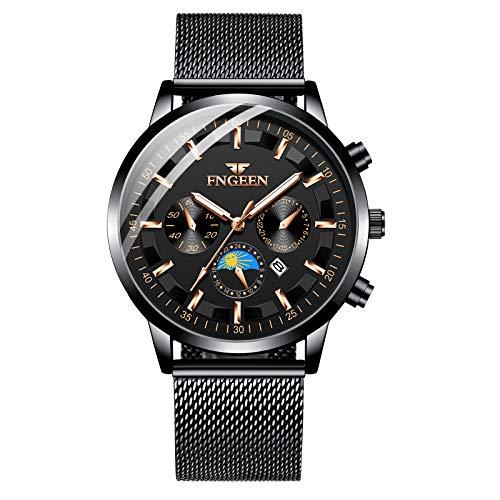 Unendlich U Herren Uhr Analog Chronograph 30 M Wasserdicht Quarz Uhr Armbanduhr Nachleuchtende Multifunktionszifferblättern Kalender Stoppuhr für Mann Business Uhren mit Edelstahlgewebe