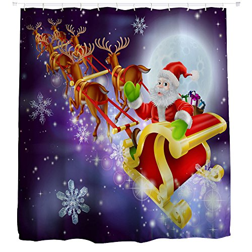 Resistente al agua de ducha cortinas, yistu Navidad decoraciones de Navidad decoración de baño cortina de ducha con ganchos (150cm * 180cm, B)