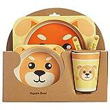Sonline 5 Unids/Set Placa de Animal de Dibujos Animados + Arco + Tenedor + Taza Juego de AlimentacióN de Vajilla de Bebé Fibra de Bambú Bebé Juego de Vajilla de Contenedor Perro