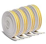 Dichtungsband für Türen, Türen Dichtung, D-Profil Selbstklebender Gummidichtung gegen kalte Zugluft, Lärm-4 Rollen für 24 m (Weiß)