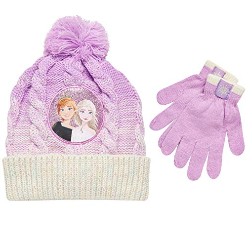 Disney Little Girls Frozen Elsa and Anna Beanie Hat and Gloves Cold Weather Set (Age 2-7), Size Age 4-7, Frozen Pink Gloves