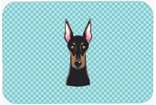 Caroline's Treasures BB1183MP Checkerboard Blue Doberman Mouse Pad, Hot Pad or Trivet, Large, Multicolor
