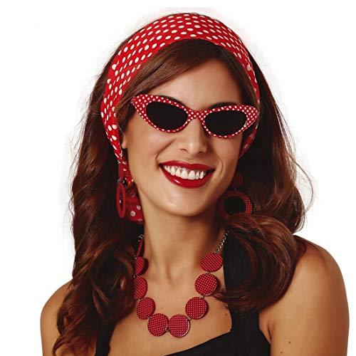 Amakando Bezauberndes Rockabella Kostüm-Set für Frauen / Rot-Weiß / Rockabilly Outfit Rock'n'Roll / Wie geschaffen zu Fasching & Kostümfest