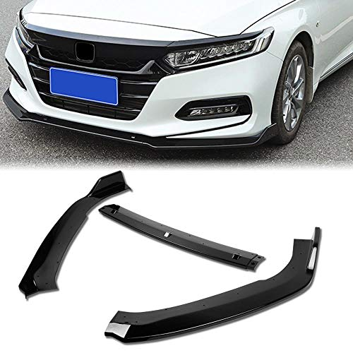 Stay Tuned Performance PU/629/PBK Painted Black Front Bumper Body Kit Lip 3PCS Compaitble with 2018&Up Accord 4DR Sedan Only