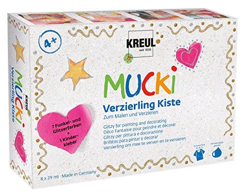 Kreul 24341 - Mucki Verzierling Kiste 7plus1, glitzernde Kindereffektfarbe auf Wasserbasis, parabenfrei, glutenfrei, laktosefrei, vegan, auswaschbar, 7 x 29 ml Verzierlinge und 29 ml Kinderkleber
