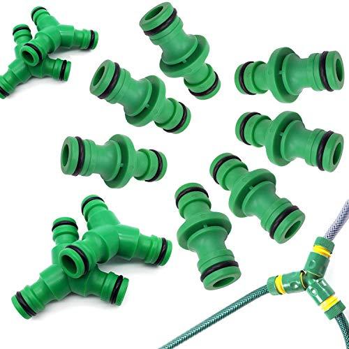 AMZANDY NEW 12 Stück Schlauchverbinder Extender,8 Doppelstecker-Schlauchverbinder und 4 Y-Stück 3-Wege Abzweig Verbinder für Gartenschlauch Rohr verbinden (Grün)