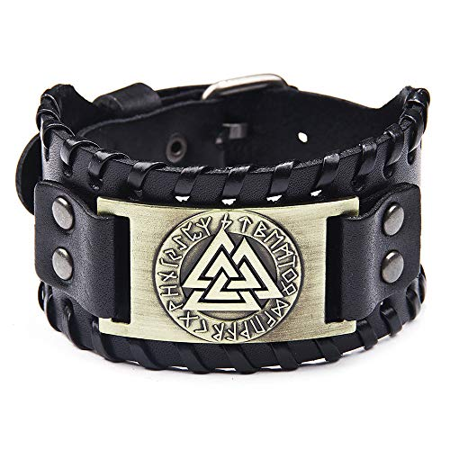 SPARKX Antique Herren Schwarzes Leder Manschette Armband, Leder Armband Pirat Klassische Elemente Vintage Kompass Muster Armband,Bronze,10.8 * 1.57 inches