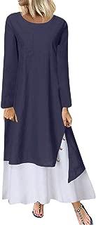 Women Dress O Neck Lnen Vest Maxi Dress Stylish Loose Beach Party Dress