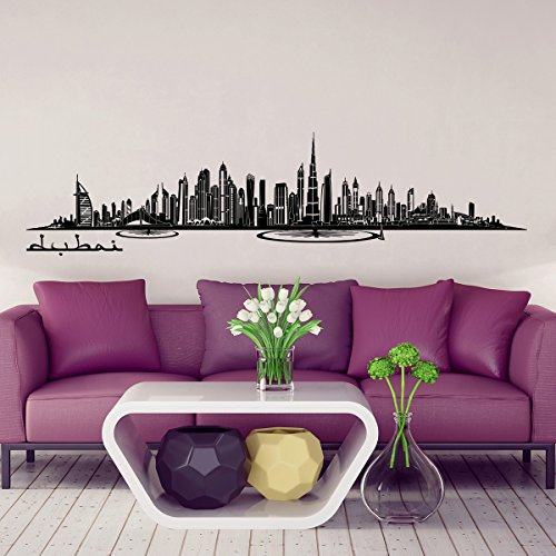 Wandkings Skyline - Deine Stadt wählbar - Dubai - 125 x 28 cm - Wandaufkleber Wandsticker Wandtattoo