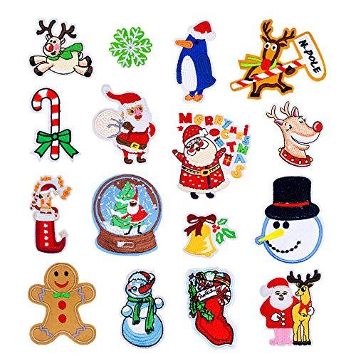Hierro en parches Termoadhesivos Parche de Bordado bordado cosido para ropa, chaquetas, mochilas, jeans,12pcs New Santa Claus Moose Series