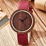MOLINB Wooden Watch Holz Bambus Zifferblatt Uhr Männer Frauen Casual Armbanduhr Rote Rose Holzuhren...