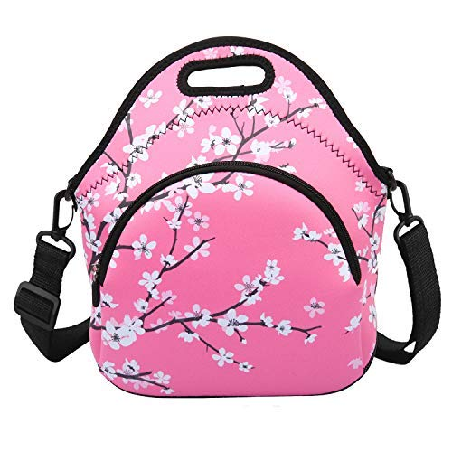 L-size Lunch Bags for Women Insulated Neoprene Lunchbox Container with Detachable Strap & Zipper Plum Blossom Pink