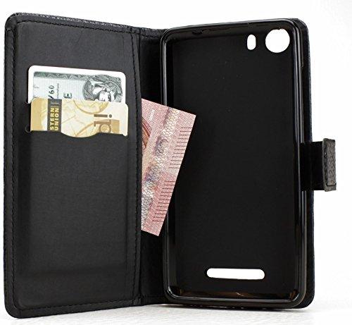 avadoo® Wiko Lenny 2 Flip Case Cover in Schwarz mit Magnetverschluss, Dualnaht und 2X Kartenschacht als Cover Tasche Hülle